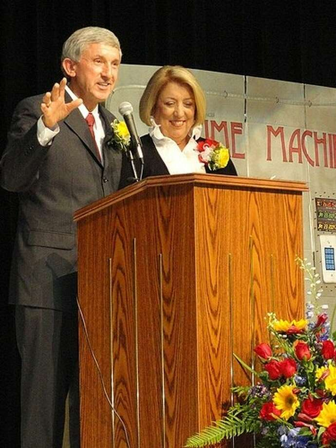Ray and Jamie Wolman address attendees during the official Wolman Elementary Dedication Celebration.
