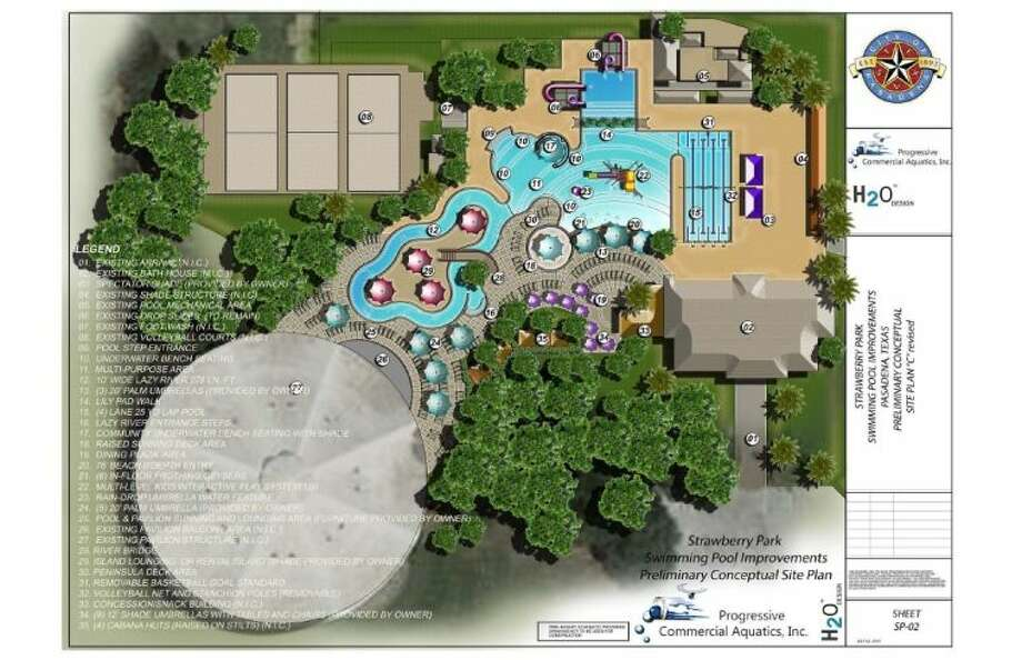 An artist's rendering of the plans for the transformation of Strawberry Park into a water park.