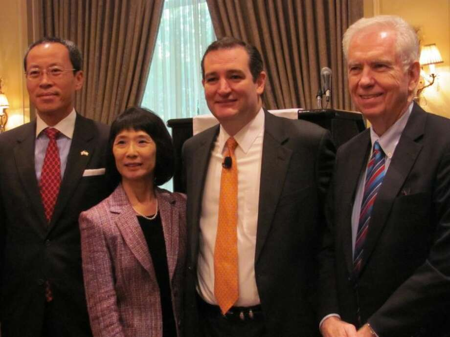 U.S. Sen. Ted Cruz, second from right, with, from left, Park Suk-Bum, Consul General of Korea, Asian Chamber of Commerce President Linda Toyota, and Charles Foster, immigration attorney and Honorary Consul General to the Kingdom of Thailand.