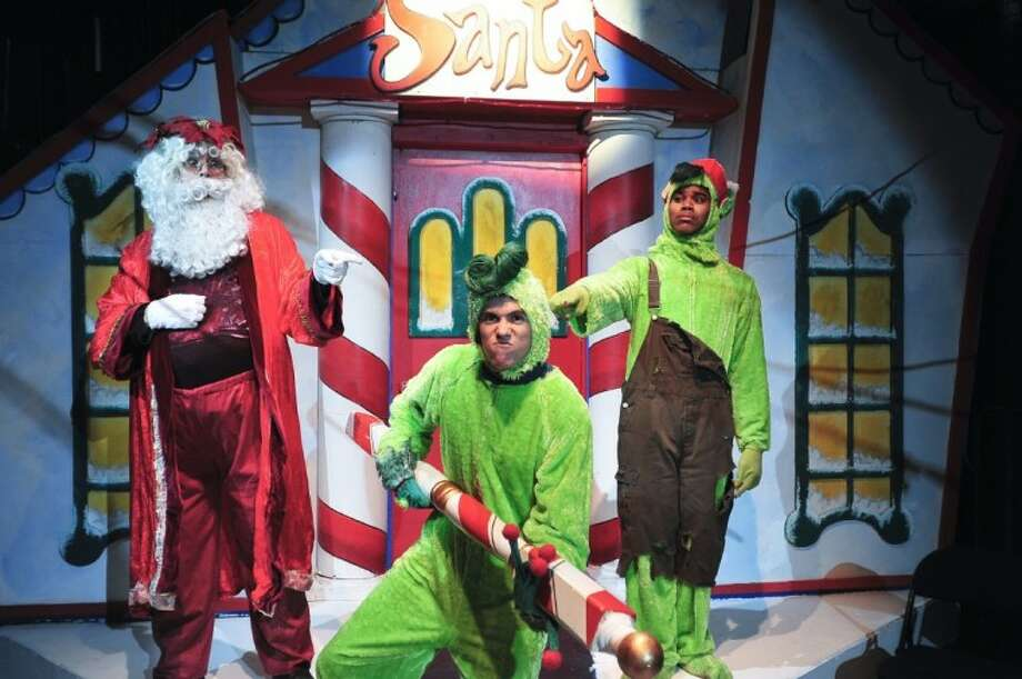 "The Young Meanie (Richard Scott, from Pearland, right) and Santa (J. D. Mathis, from Deer Park) catch the Ol' Meanie (Zac Kole, guest artist from Missouri City) stealing the North Pole, in San Jacinto College's production of ""Santa's Christmas Magic: The Musical."""
