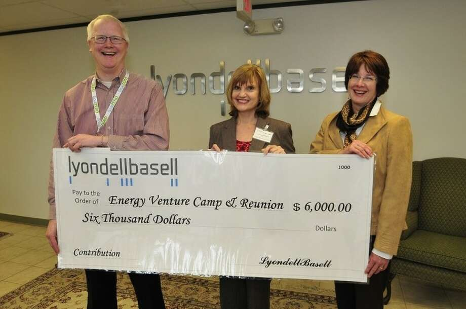 Pictured (left to right) are Tim Westby, LyondellBasell site manager; Linda Drobnich, San Jacinto College senior business development manager; and Gayden Cooper, LyondellBasell regional public relations manager.