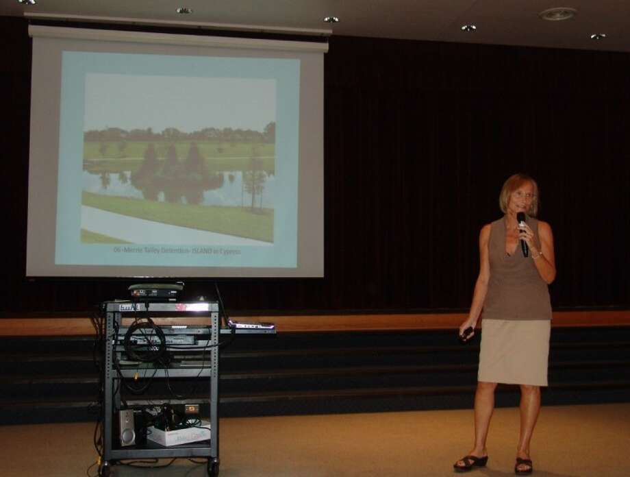 One of the eight subcommittee presenters explains plans for the old Clear Lake Golf Club during a community meeting at St. Bernadette Catholic Church on Thursday (August 30).