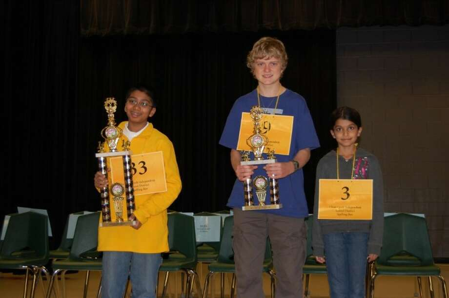 Pictured from left are CCISD spelling champion Syamantak Payra, 6th grader at Westbrook Intermediate School, 2nd place winner Louis Guardione, 7th grader at Creekside Intermediate School and Vijeyta Revankar, a 4th grader at Bay Elementary, placed 3rd and received an Honorable Mention.