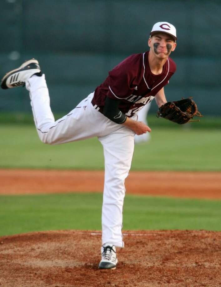 Clear Creek's Tanner Griggs delivers a pitch during the Wildcats' 12-2 win over Clear Brook last week.
