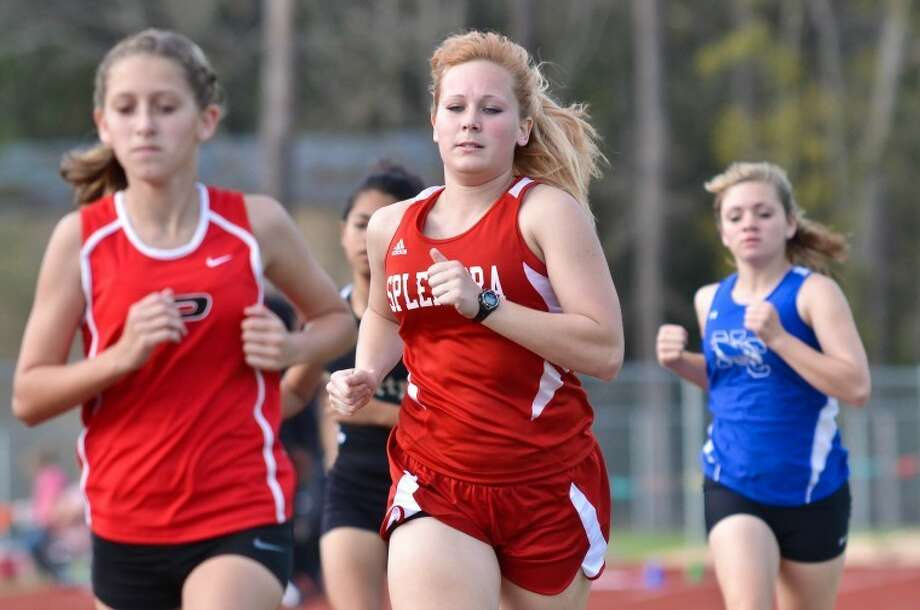 Splendora runner Haley Jensen competes at the Porter Spartan Relays Mar. 1.