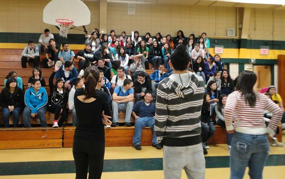 "Photo Park View Intermediate students watch the ""Bully Game show,"" an anti-bullying skit performed by Sam Rayburn students, Leslie Gonzalez, Jonathan Gutierrez and Yesica Avila"