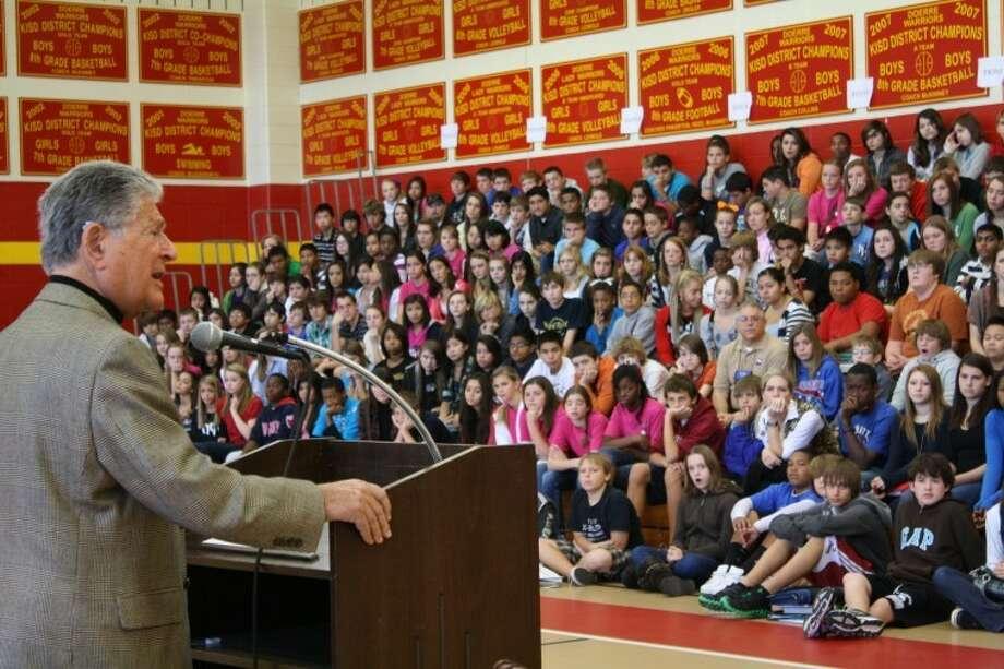 Walter Kase spoke to Doerre Intermediate students during KISD Anti-Bullying Week.