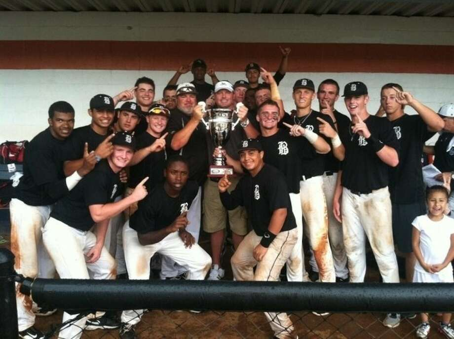 The Houston-area 17-and-under Banditos Black traveling select baseball team recently won the Perfect Game Tournament in Atlanta. Team members are (first row) Bryce Welborn (Northland Christian), Ishmael Edwards (Tomball) and Isaiah Rojas (Texas City); (second) Daniel Lee (Russell County), Luis Roman (Klein Oak), Andre Shewcraft (Pearland), Zane Gurwitz (Churchill), coach Ray De Leon, former MLB Cy Young-winner Roger Clemens, Ryne Birk (Seven Lakes), Ryan Capel (Seven Lakes), Thaddius Lowry (Spring), Carter Hope (The Woodlands), Dylan Bass (Tomball); (third) Braeden Holub (Tomball), Nick Banks (Tomball), Austin Gryder (Tomball), Nicholas Buckner (North Shore) and Kacy Clemens (Memorial); (fourth) Stone Garrett (George Ranch) and Robie Rojas (Jersey Village).
