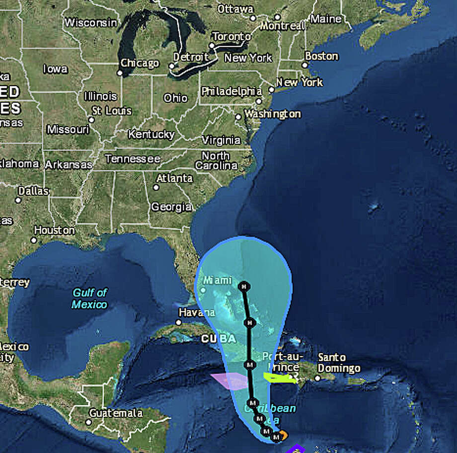 """As of Saturday morning, Oct. 1, 2016, this is the National Hurricane Center's expected track of Hurricane Matthew. The NWS says its too early to say what impact, if any, Matthew will have on the Northeast. On its Boston bureau Facebook page, the NWS service posted Saturday, """"once the system reaches the Bahamas, there is a lot of spread in the models, both in track and timing, which makes an answer to the question (on any impact on the Northeast) virtually impossible at this time. Everyone should pay close attention, though, as we get into next week."""" Photo: /"""