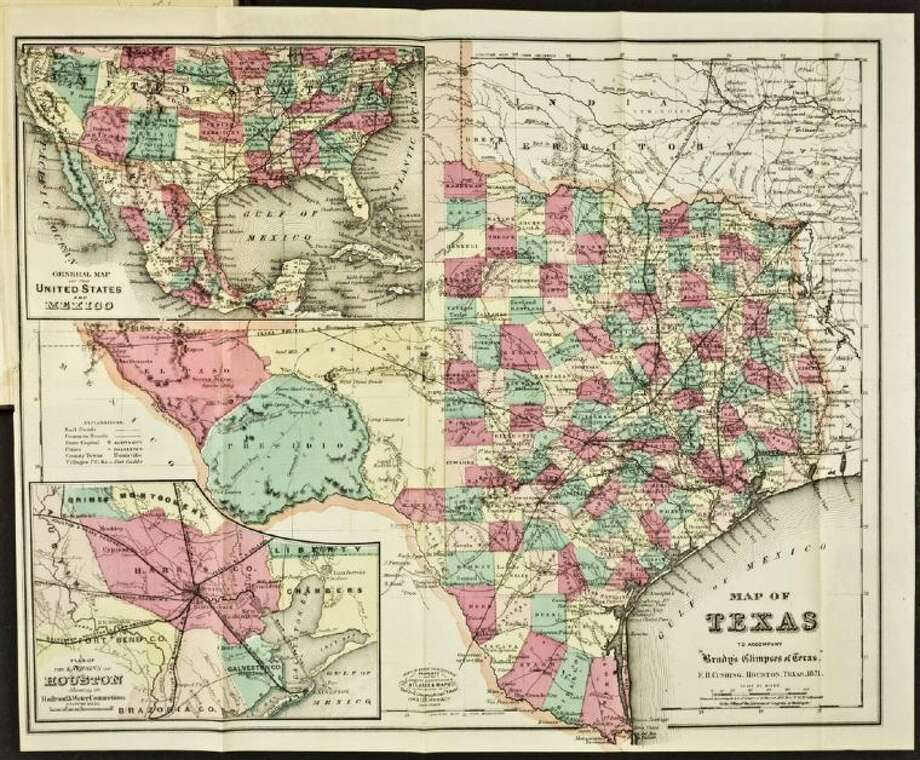 Map of Texas in Glimpses of Texas: its divisions, resources, development and prospects (1871) by William Brady. Texans can now access rare primary source materials (such as this map) at local libraries that participate in the the statewide resource sharing program known as TexShare. Image is courtesy of the Newberry Library, Chicago. Photo: Submitted Image