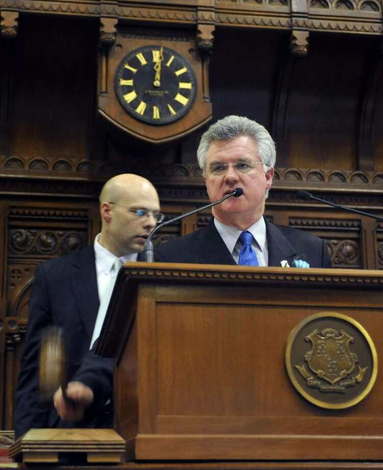 Speaker of the House Christopher Donovan, D-Meriden, slams a gavel marking the end of the session at the Capitol in Hartford, Conn., Thursday, May 6, 2010. (AP Photo/Jessica Hill) Photo: Jessica Hill, AP / FR125654 AP