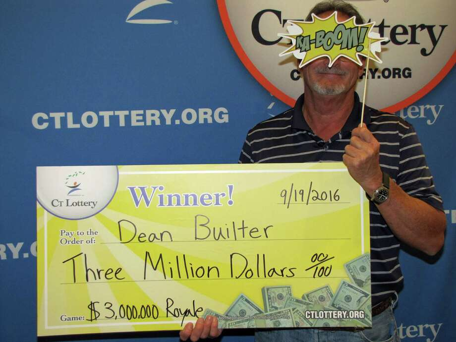 Newly-minited millionaire Dean Builter, of Fairfield, recently claimed the top prize in a $3 million on a CT Lottery instant ticket. Builter agreed to a photo taken at lottery headquarters in Rocky Hill, but (probably, wisely) covered part of his face. Photo: CT Lottery Photo