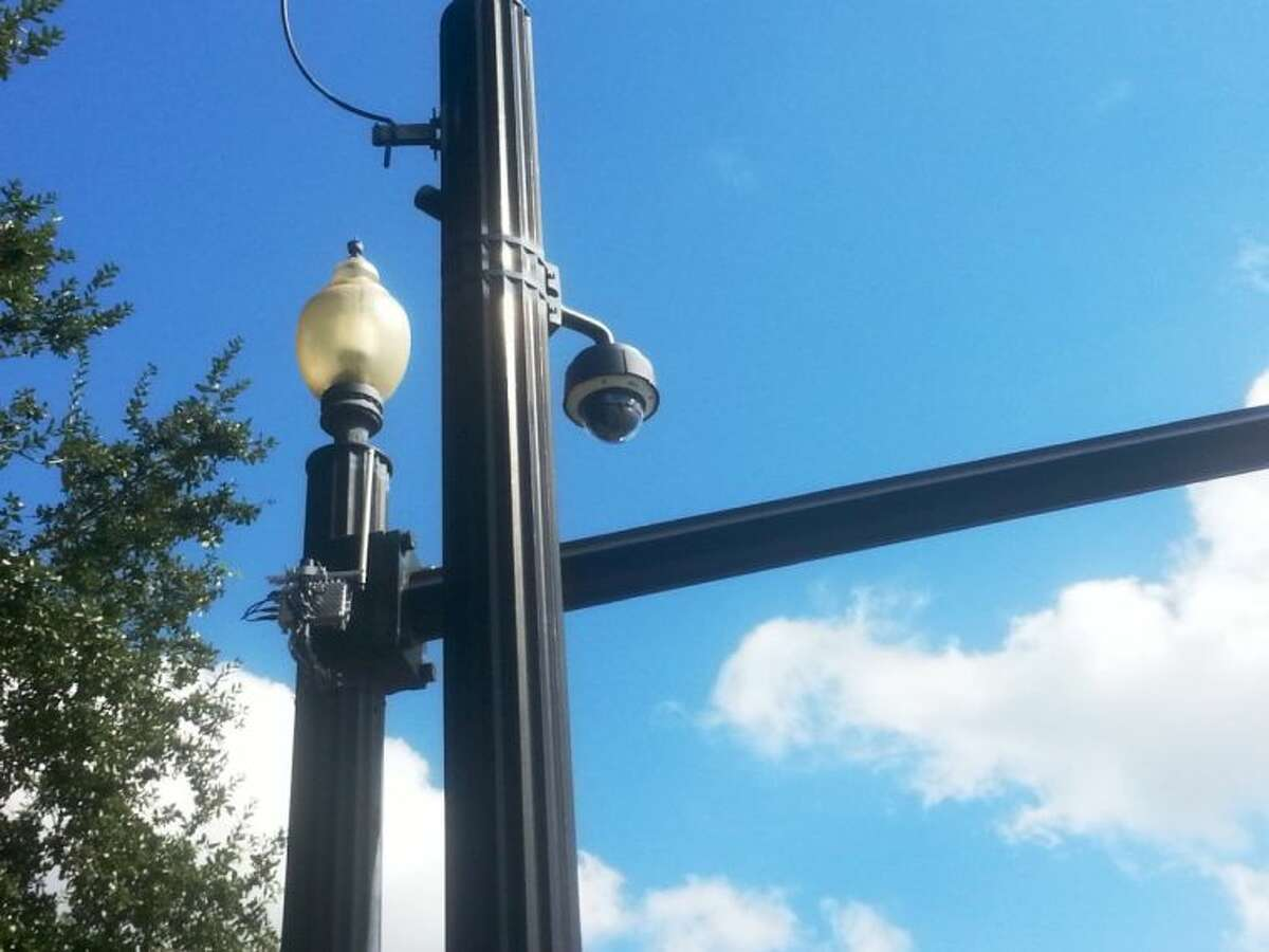 One of Sugar Land's red light cameras watches over the intersection of Highway 6 and Lexington Boulevard.