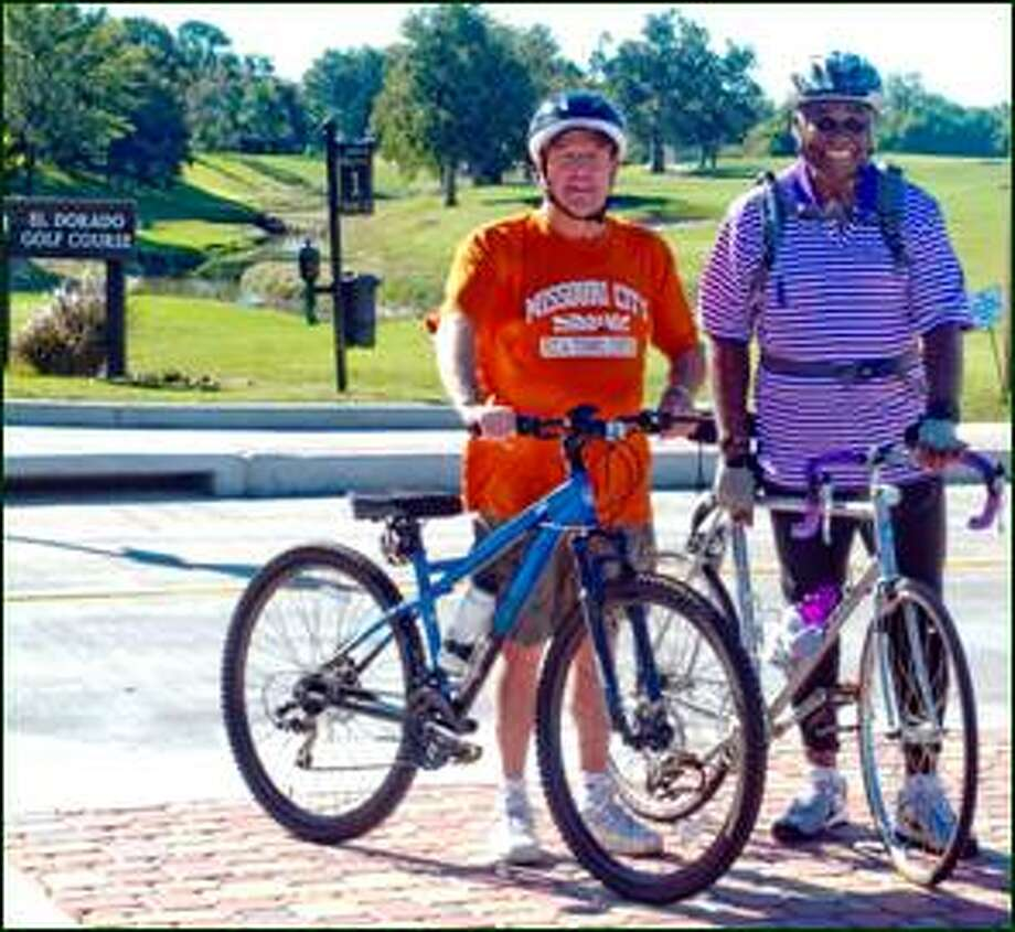 """Missouri City, in partnership with Senator Rodney Ellis, will host its first """"Show Me City Ride of Pride"""" on Sunday, Dec. 1 from 7 a.m. to noon. Participants will launch their 8.55-mile cycle from Community Park, 1700 Glenn Lakes Ln. Pictured above areMissouri CityMayor Allen Owen (orange shirt) and City Councilmember Don Smith. Photo: Photo Courtesy City Of Missouri City"""