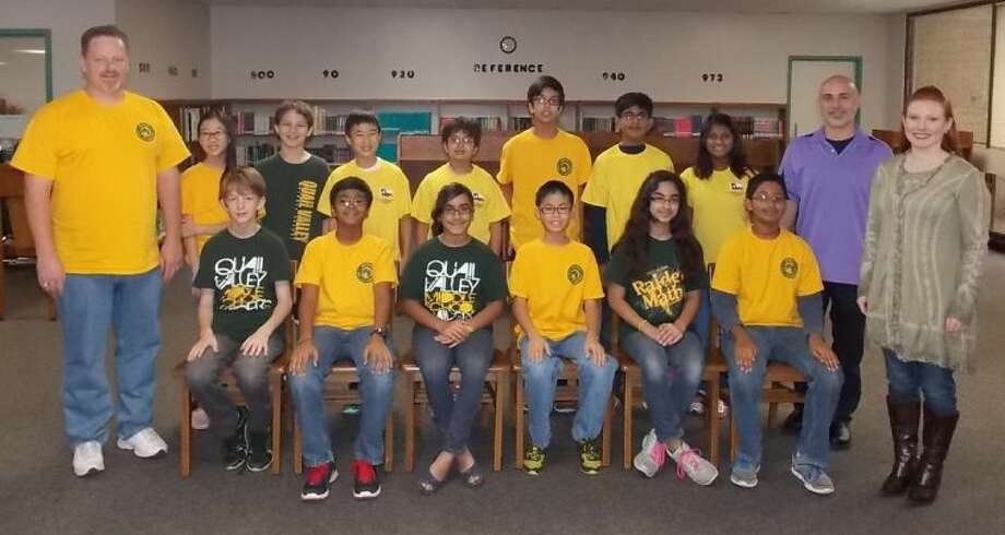 Pictured (seated, from left) are: Dylan Sky MacAdams, Mehul Mittal, Anya Pazhoor, Ethan Chow, Kanika Talwar, Sairaja Kurelli; and (standing, from let) David Sebek, GT ELA teacher; students Catalina Chang, Colby Sanders, Leo Dong, Kedar Pandya, Satwik Misra, Siddharth Khurana, Hannah Abraham, and GT ELA teachers Joe Bernhart and Nicole Frazier. Photo: Courtesy FBISD