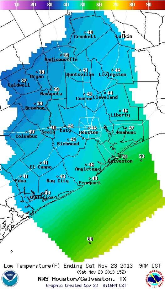 Predicted low temperatures in the region overnight, ending at 9 a.m. Saturday. Photo: National Weather Service