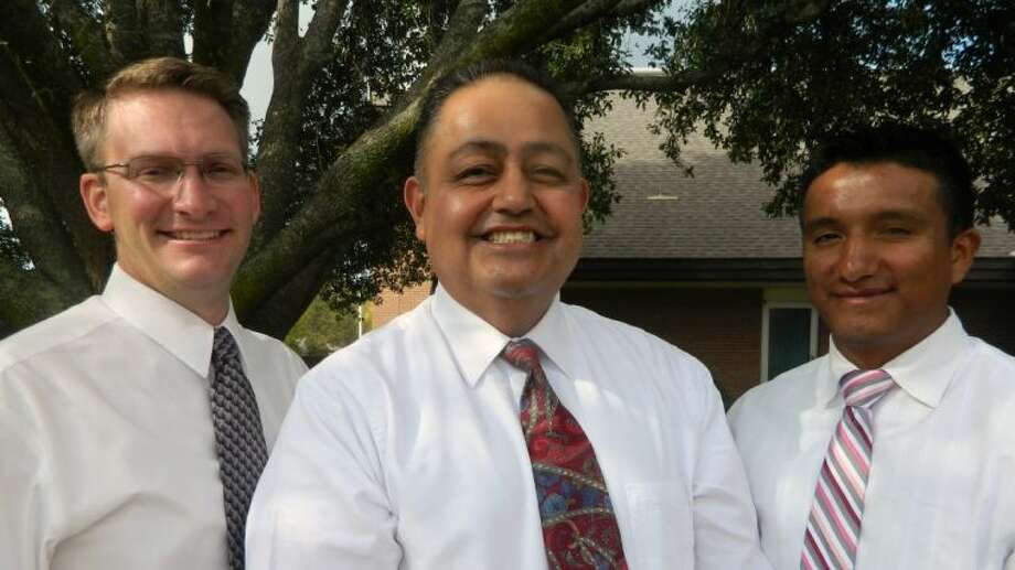 Leaders of the new Trinity River congregation of the Church of Jesus Christ of Latter-day Saints are President David Escobar (center); first counselor, Ron Christiansen (left); and second counselor, Moises Garcia. Photo: Submitted Photo