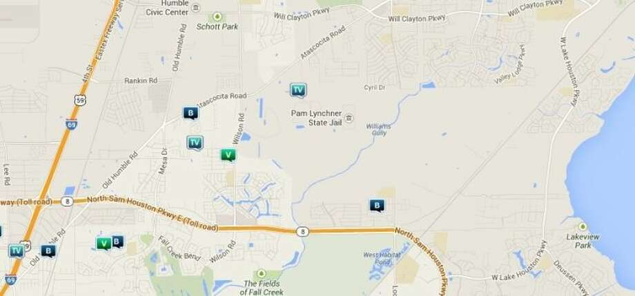 Law enforcement activity in the unincorporated Humble area N. Legend: B - burglary; V - stolen vehicle; R - robbery; TV - theft from vehicle (BMV). Photo: Map By Crimereports.com