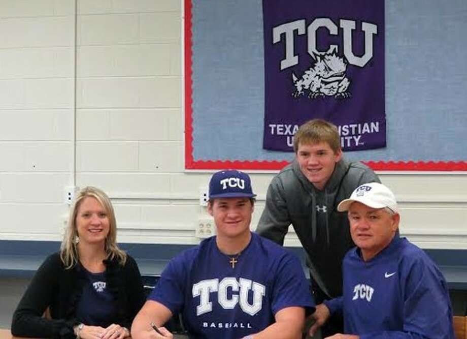 Present at National Signing Day in Shepherd when Tyler Kolek signed his baseball letter-of-intent with TCU were his mother, Brenda Kolek, Tyler Kolek (center), his father, James Kolek, and younger brother Stephen Kolek (back). Photo: Jan Page (submitted Photo)