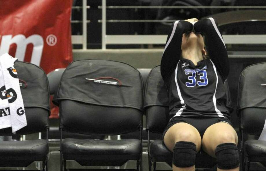 Friendswood's Kailyn Kelledy (33) reacts after the Lady Mustangs' loss to Amarillo in a Class 4A state volleyball semifinal Thursday in Garland. Photo: Photographer