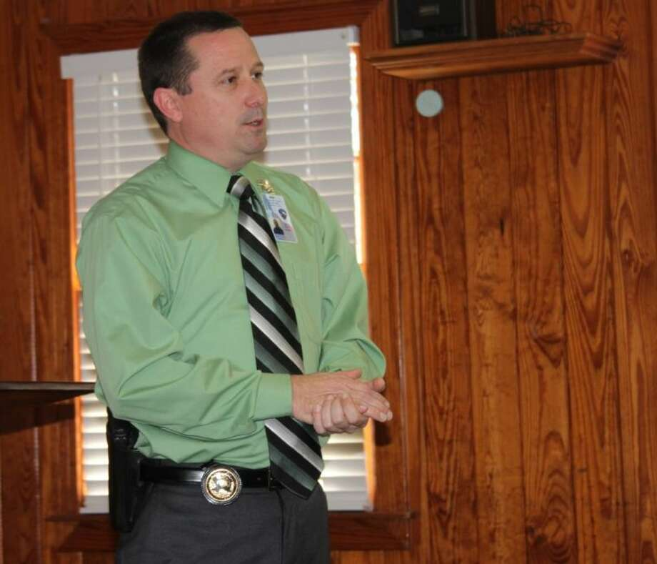 James Fitch, the chief deputy for the San Jacinto County Sheriff's Office, explains the challenges the department faces while providing security for the residents of the county. Fitch was the guest speaker at the Nov. 19 noon luncheon of the Coldspring/San Jacinto County Chamber of Commerce. Photo: VANESA BRASHIER