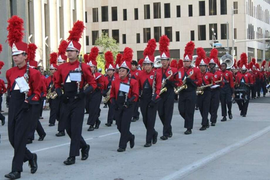 "Cypress Springs Panther Band members march through the streets of downtown Houston for the annual ""Houston Salutes American Heroes"" Veterans Day Celebration Parade on Nov. 11. Photo: Submitted Photo"