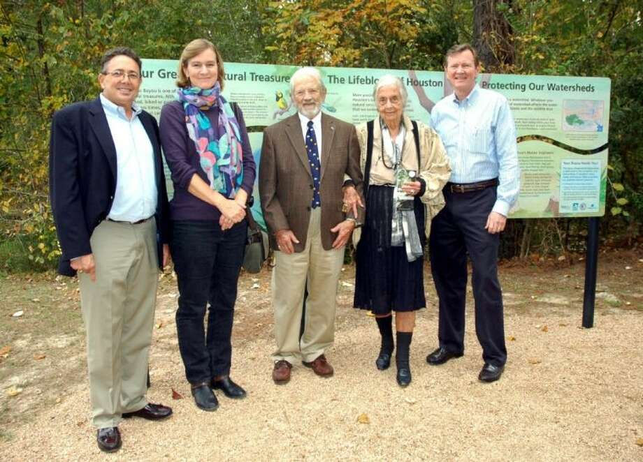 At the Wednesday, Nov. 20, dedication are (from left) Robert Rayburn, president, Bayou Preservation Association; Amanda Hughes-Horan, principal, Interpretive Insights; Frank Smith; Terry Hershey; and Mike Talbot, director, Harris County Flood Control District. Photo: Rusty Graham