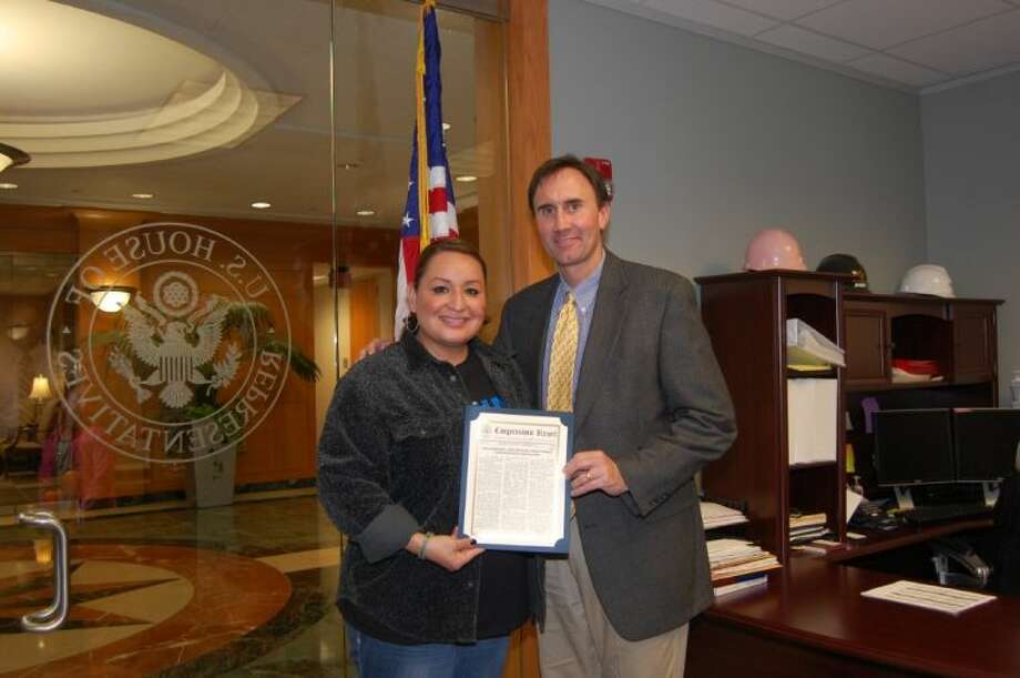 Officer Ann Carrizales and Congressman Pete Olson. Photo: Submitted Photo