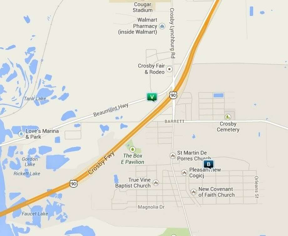 Law enforcement activity in the Crosby area Nov. 21-26. Legend: B - burglary; TV - theft from vehicle (BMV); V - stolen vehicle; R -- robbery. Photo: Map By Crimerports.com