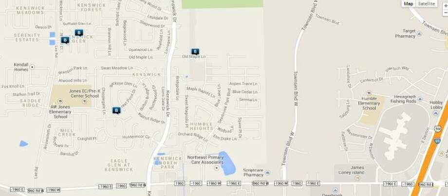 Law enforcement activity in the unincorporated Humble area Nov. 21-26. Legend: B - burglary; V - stolen vehicle; R - robbery; TV - theft from vehicle (BMV); file symbol - multiple events. Photo: Map By Crimereports.com
