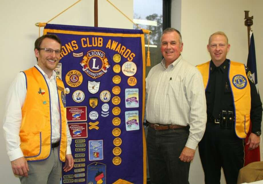 Cleveland Lions Club President Taylor Heilers welcomed Liberty County Tax Assessor Richard Brown (center) to the Nov. 26 meeting. Photo: STEPHANIE BUCKNER