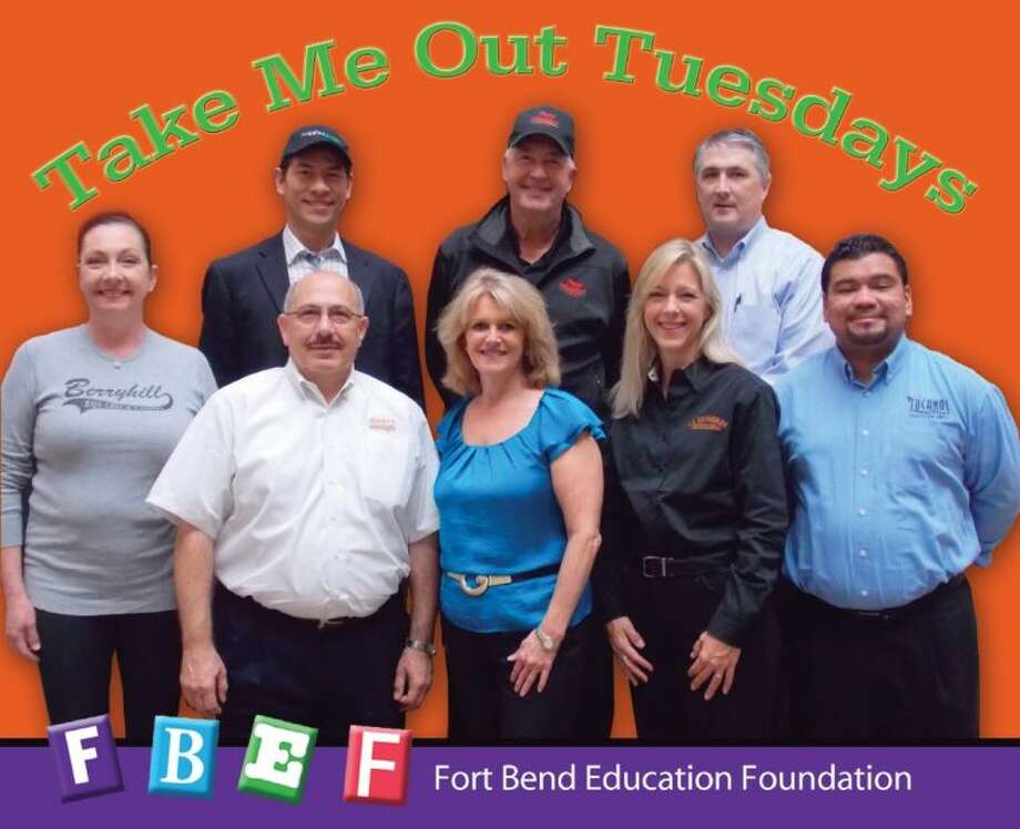 Pictured (front row, from left) are: Wendy Brooks, Berryhill Baja Grill; Fred Mankarious, Fadi's Mediterranean Grill; Brenna Smelley, FBEF Executive Director; Doris Funderburk, La Escondida Mexican Grill; Jose Reyes, Tucanos Brazilian Grill and (back row) Federico Marques, Ruggles Green; Trent Thomas, Papa Murphy's Take 'N' Bake Pizza and Sean Kennedy, Corelli's Italian Cafe (Not shown is the representative from Outback Steakhouse) . Photo: Photo Courtesy FBEF Takeout