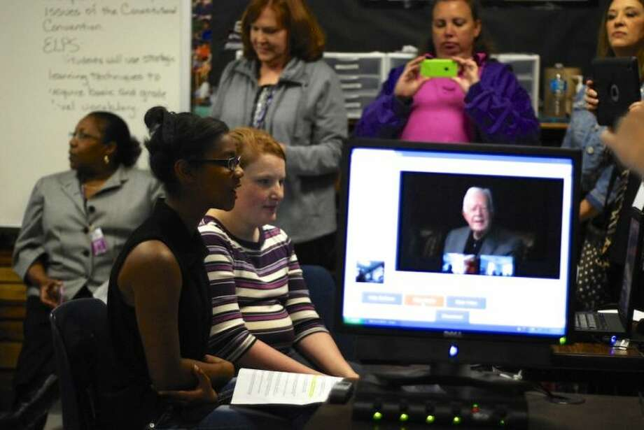Kayla Pruitt asks her question to former President Carter during the Dec. 2 live webcast from Plains, Geo. Photo: CASEY STINNETT