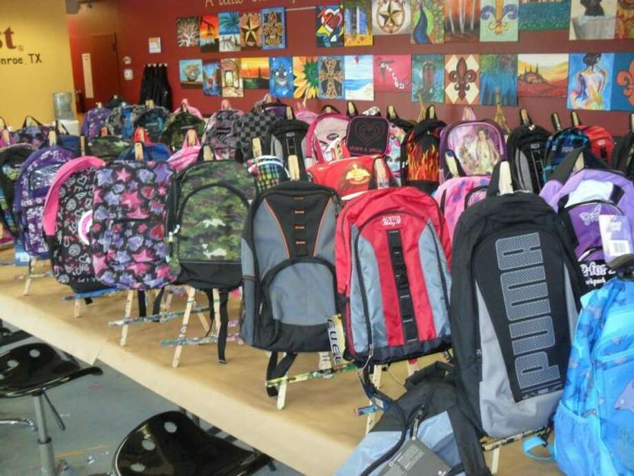 Backpacks wait to be filled with food for children in Montgomery County as part of the Food Bank's Buddy Backpacks program.
