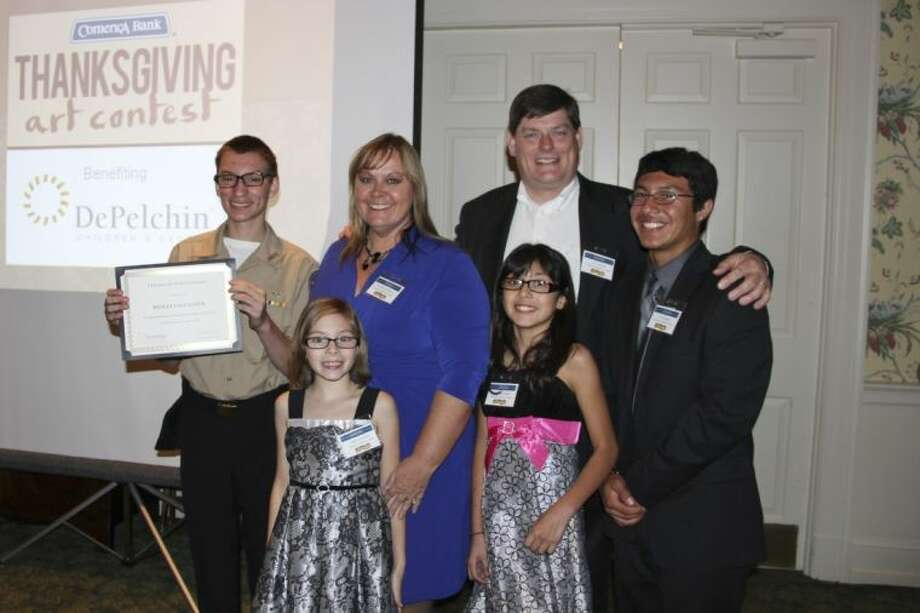 The Gallagher family at the Thanksgiving Art Reception for the Junior League of Houston on Nov. 7. From left, Wesley, Angelina, Ann Marie, Samantha, Harry and Jose. Photo: Submitted