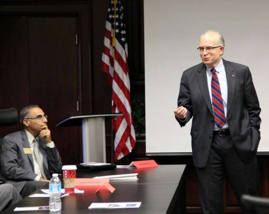 The Pearland Chamber of Commerce hosted Texas Transportation Commissioner Jeff Moseley (pictured standing) at the Transportation Committee meeting held Thursday (Nov. 14). Photo: KRISTI NIX