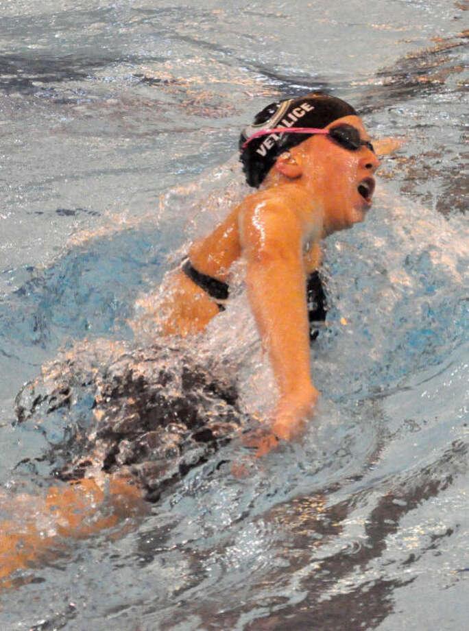 Junior swimmer Kelsey Vetalice set two school records for The John Cooper School last month at Conroe ISD Natatorium. Photo: Courtesy Photo