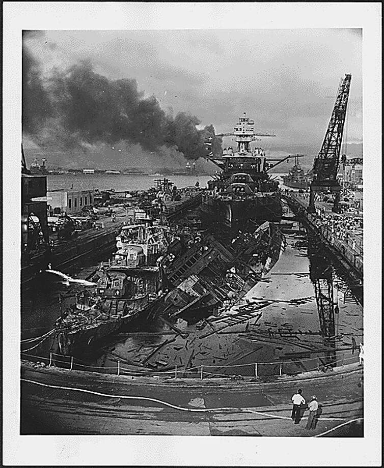 The remains of a ship bombed during the raid on Pearl Harbor on Dec. 7, 1941. Photo: National Archives