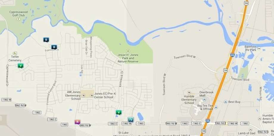 Law enforcement activity in the unincorporated Humble area Nov. 28-Dec. 4. Legend: B - burglary; V - stolen vehicle; R - robbery; TV - theft from vehicle (BMV). Photo: Map By Crimereports.com