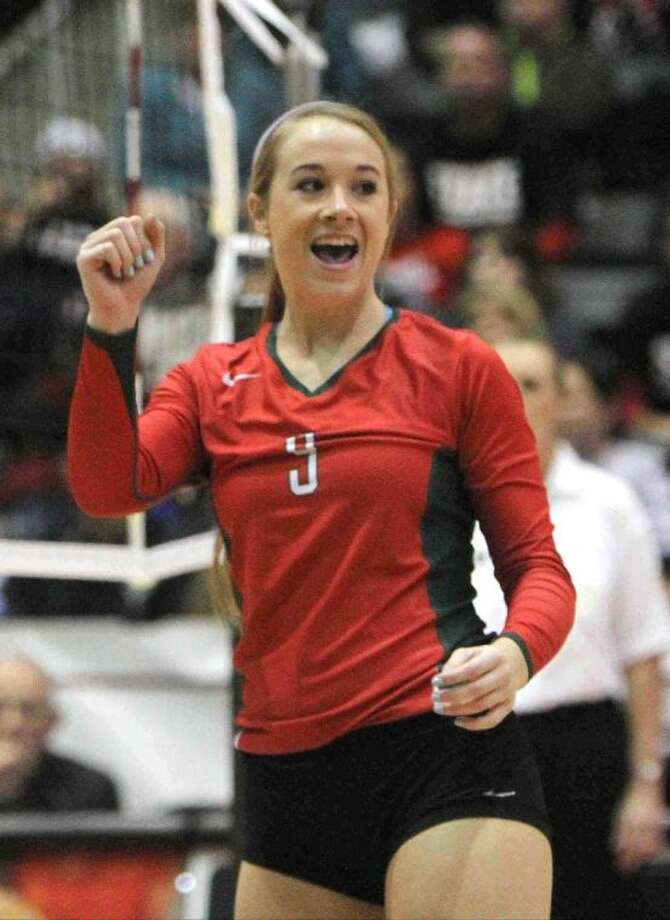 The Woodlands senior setter Courtney Eckenrode had plenty of reasons to celebrate this year. She is The Courier's Montgomery County Player of the Year.