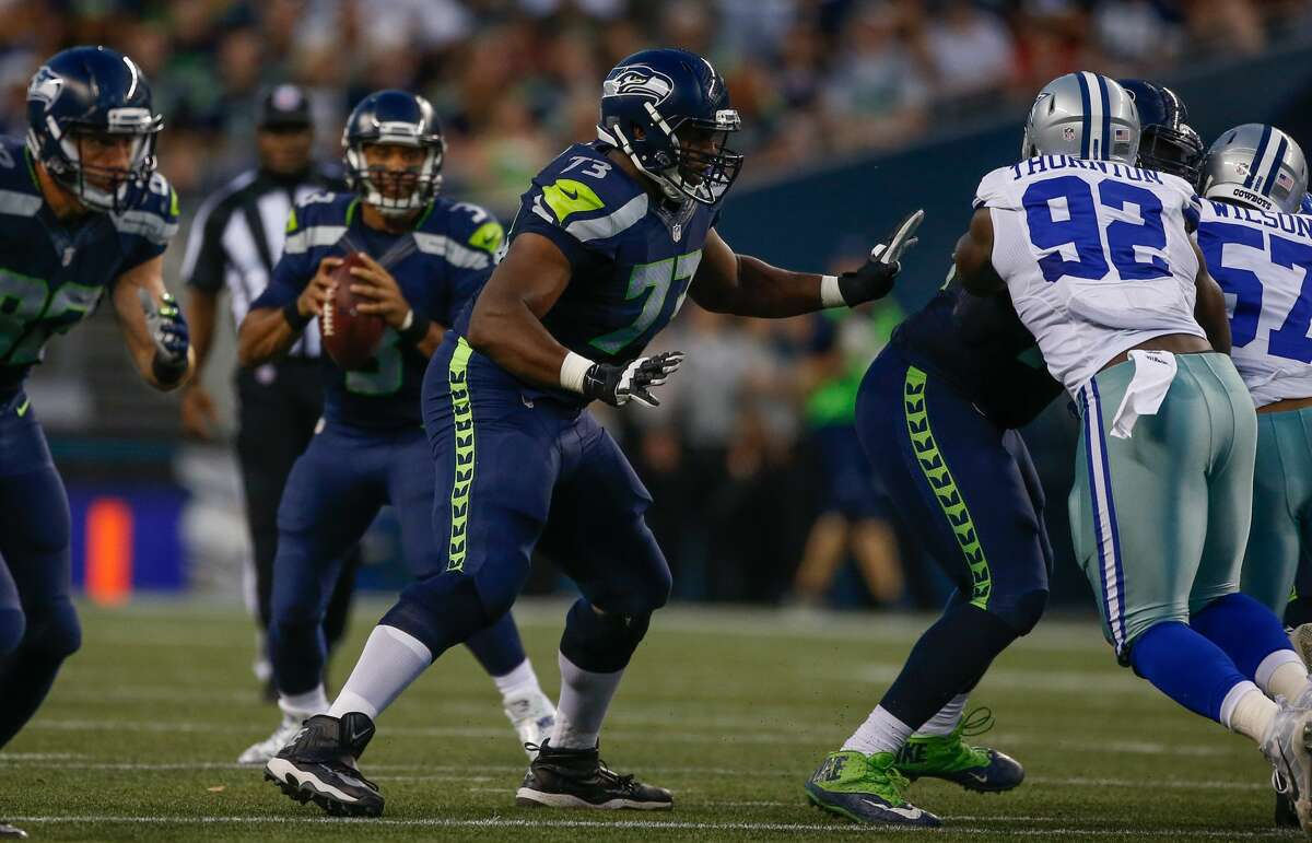 Offensive tackle J'Marcus Webb of the Seattle Seahawks pass blocks against the Dallas Cowboys during the preseason game at CenturyLink Field on August 25, 2016 in Seattle, Washington. (Photo by Otto Greule Jr/Getty Images)