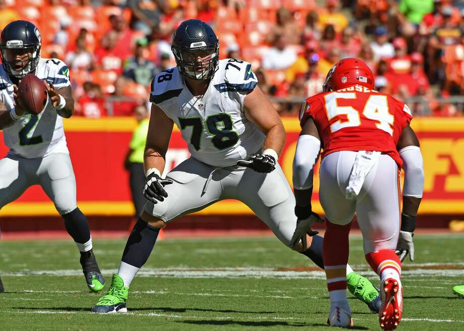 Offensive tackle Bradley Sowell of the Seattle Seahawks gets set on the line against the Kansas City Chiefs during the first half on August 13, 2016 at Arrowhead Stadium in Kansas City, Missouri.  (Photo by Peter G. Aiken/Getty Images) Photo: Peter G. Aiken/Getty Images
