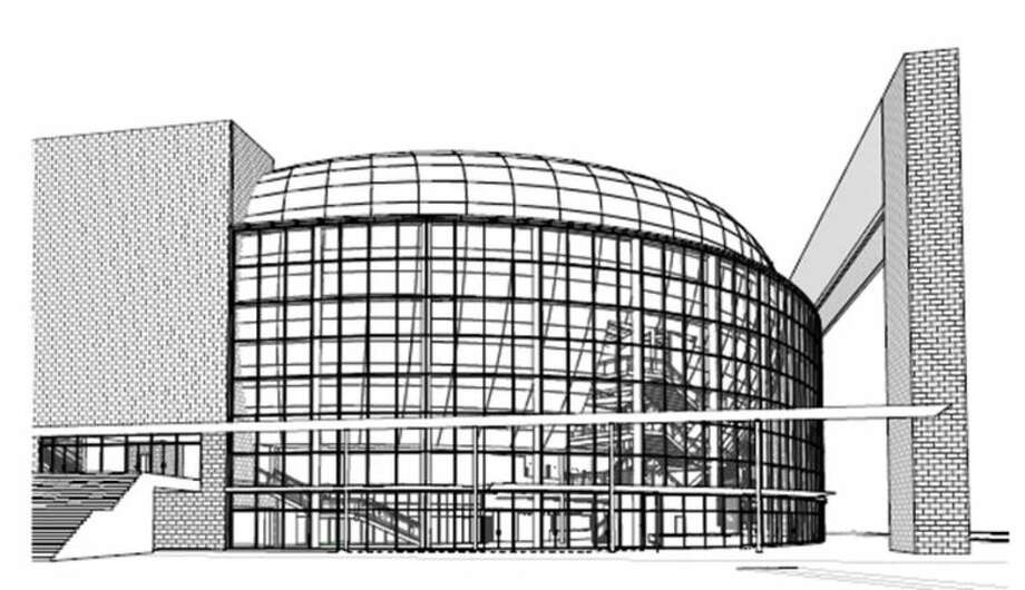 """A computer rendering of the """"glass bowl"""" of Sugar Land's planned performing arts center, to be located in the Telfair commercial district, southeast of the U.S. Highway 59/University Boulevard intersection. Photo: Courtesy City Of Sugar Land"""