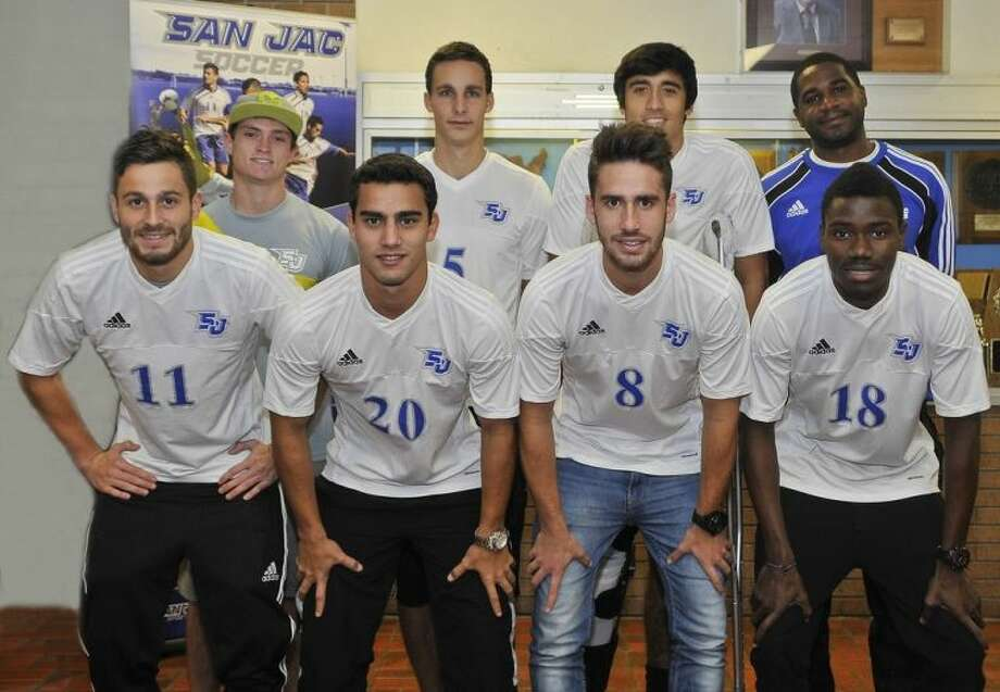 "The San Jacinto College soccer team held a record-breaking season setting a new school record of 20-2-0 and finishing third in the nation at the National Junior College Athletic Association (NJCAA) national tournament. Pictured left to right: Bottom row: Jose ""Sito'"" Seoane, Joao Monteiro, Pablo Vazquez, and O'Neal Moore. Top row: Michael Rich, Ezquiel Amestoy, Call Casarez, and San Jacinto College Soccer Head Coach Ian Spooner. Photo credit: Andrea Vasquez, San Jacinto College marketing, public relations, and government affairs department."