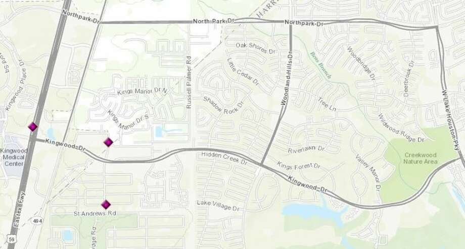Burglaries in Kingwood as reported by HPD for the period of Dec. 6-12. Photo: Map By City Of Houston GISTD
