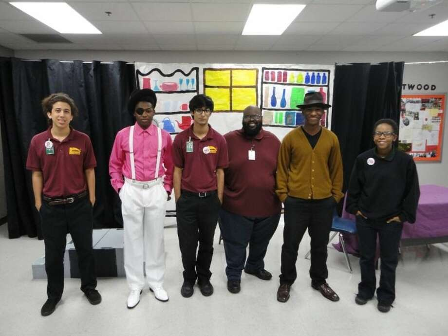 M.R. Wood Social Studies teacher Edshone Atwood (third from the right) is shown with cast members (from left) Christian Castro, Shawn Johnson, Armann Tharyani, Keymon Sanders and China DeVaughn. Photo: Courtesy FBISD