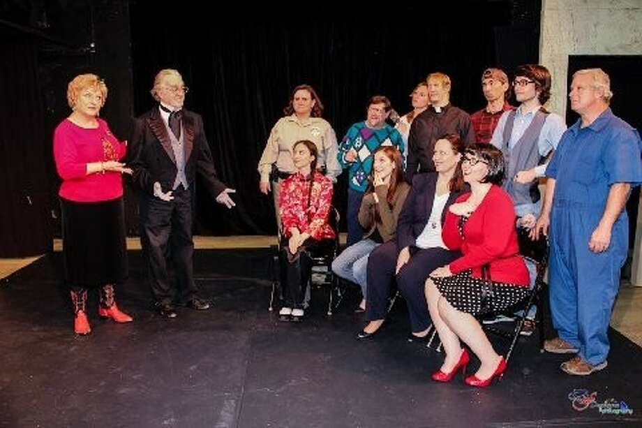 "This zany group will charm you in Pasadena Little Theatre's ""The Christmas Visitor""playing Thursday, December 19 through Sunday, December 22. Call 713-941-1758 for more information and reservations. ""Lorraine"" (at left in PINK boots) is in charge of the holiday farce. Come and enjoy!"