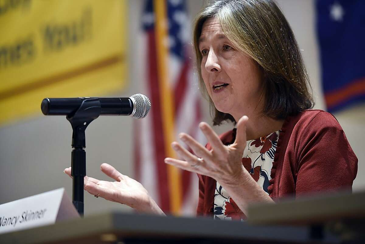Nancy Skinner answers a question during a League of Women Voters debate between District 9 state Senate candidates Nancy Skinner and Sandre Swanson at Berkeley City College in Berkeley, CA Saturday, October 1, 2016.