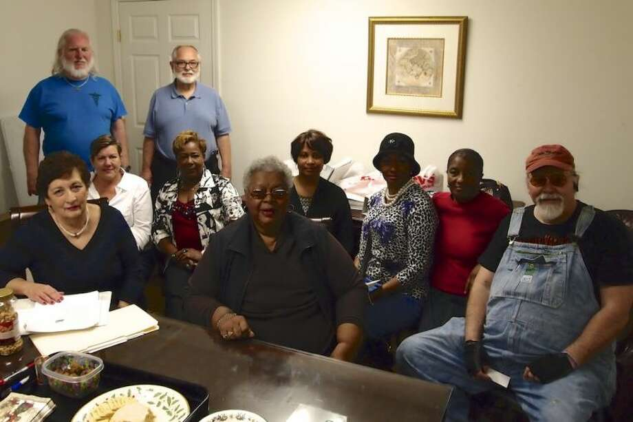 Attending the Democratic Party ballot draw in Liberty County were, seated in front, from left, Nancy Archer, Bennie Wells, and Ron Blake. Pictured are (seated in back) Jean Varsos, Durlene Davis, Monique McDuffie Brooks, Barbara McIntyre, and Linda McDuffie; and (standing) Charles Lippold and David Boyer. Photo: CASEY STINNETT