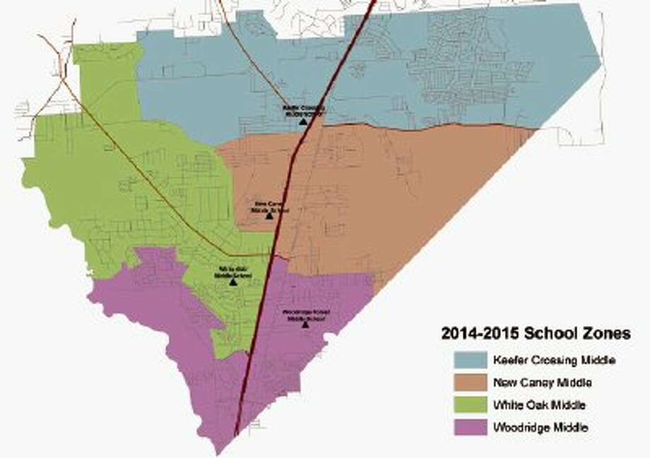 The new map showing the boundaries for the four New Caney ISD middle schools was recently released by the district.